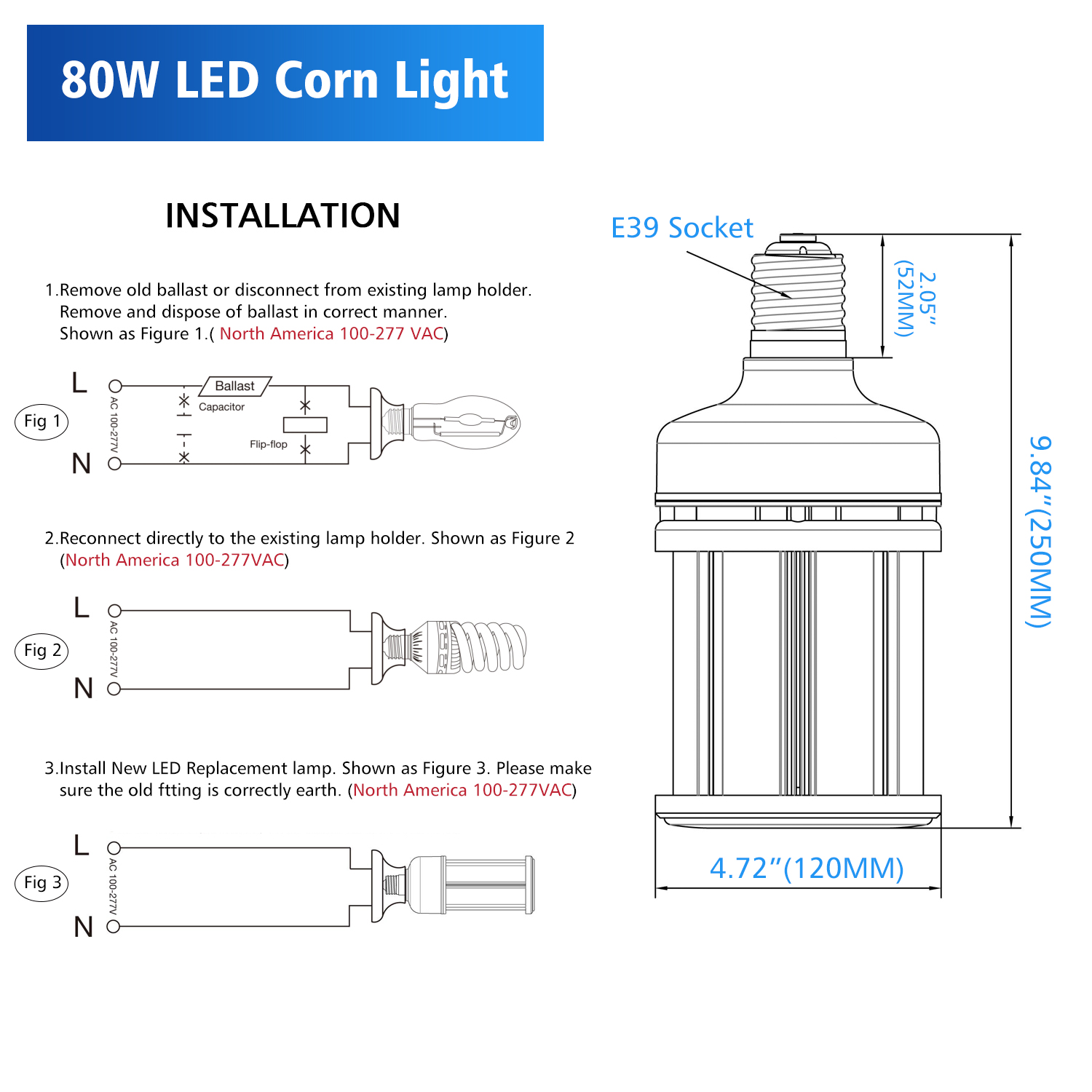 KUKUPPO RCL 80W LED Corn Light Bulb 320W Metal Halide Warehouse High Bay Light E39 Mogul Base 6000K Cool White for Parking Lot Shoebox Warehouse Workshop Garage Gym Corn Cob Bulbs